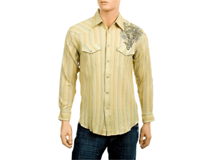MEN'S LONG SLEEVE CROSS WESTERN PRINT SHIRT
