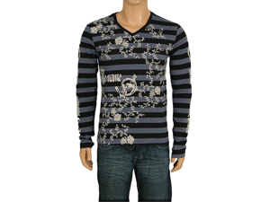 Black & Gray Striped Men's V Neck With Scroll Print