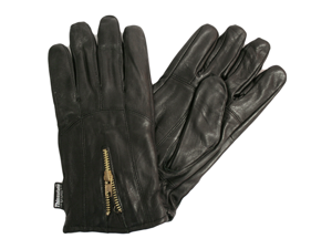BLACK LEATHER MEN'S 3M GLOVES WITH ZIPPER CLOSURE