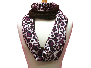 Leopard Print Infinity Scarf With Faux Fur