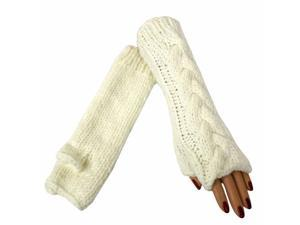 "Ivory White Thick 11"" Cable Knit Arm Warmer Gloves"