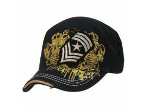 Navy Blue Vintage Look Military Cadet Cap Hat With Patch