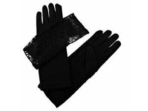 Feminine Black Glove With Lace Removable Cuff