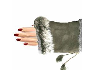 Lady's Fingerless Gloves With Rabbit Fur Trim