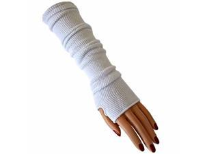 White Tight Fit Long Arm Warmers W/Thumb Hole