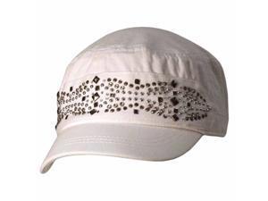 White Military Cadet Cap Hat W/Silver Stud Design