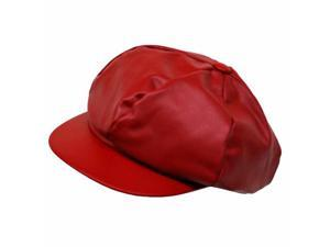 Red Genuine Leather 6 Panel Newsboy Cap Hat