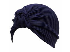 Navy Blue Thin Pleated Polyester Turban Hat Head Cover Sun Cap