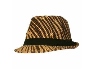 Brown Animal Printed Lightweight Fedora With Band