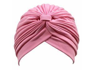 Light Pink Classy Polyester Turban Hat Head Cover Sun Cap
