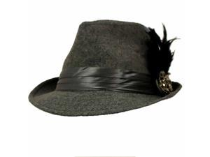 Grey Fedora Hat With Large Beaded & Feathered Broach
