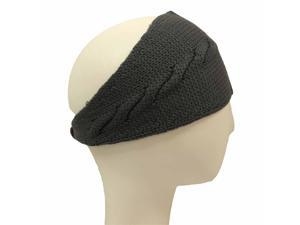 Grey Cable Knit Headband With Button Closure