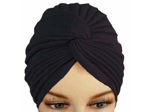 Black Pleated Turban Hat Head Cover Sun Cap