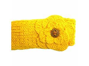 Yellow Hand Made Cotton Knit Headband W/flower & Rhinestone Button