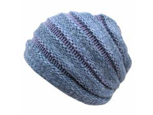 Denim Blue Two Tone Thick Knit Layered Winter Beanie Hat