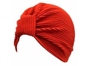 Red Thin Pleated Polyester Turban Hat Head Cover Sun Cap