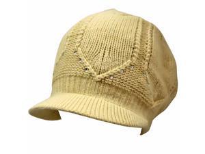 Beige Angora Slouchy Crocheted Knit Newsboy Cap With Rhinestones
