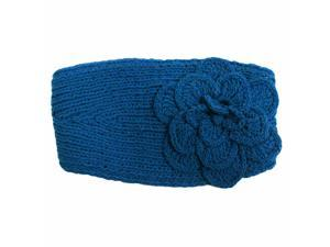 Teal Blue Hand Made All Cotton Knit Headband With Flower Detail