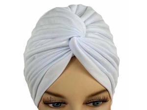 Pure White Bunch Pleated Turban Hat Head Cover Sun Cap