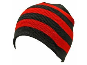 Black & Red Tight Fitting Striped Knit Beanie Cap Hat