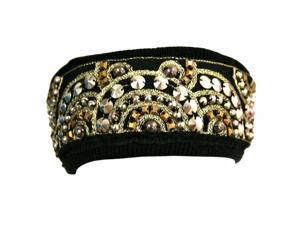 Black Bohemian Style Beaded & Studded Headband