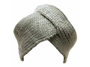 Dark Grey Thick Knit Turban Wrap Front Cap Hat