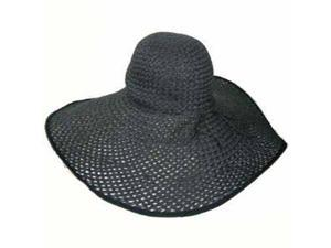 "All Black 8"" Wide Large Brim Straw Beach Sun Floppy Hat"