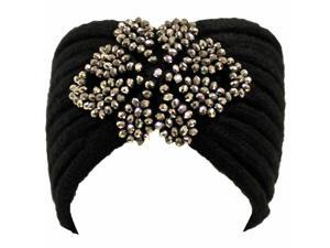 Black Beautiful Thick Knit Winter Headband W/Beaded Detail