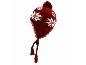 Red & White Snowflake Knit Tassel Trooper Hat