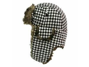 Hounds Tooth Faux Fur Lined Trooper Aviator Hat