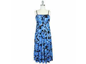 BLACK & BLUE FLORAL EMPIRE WAIST LONG MAXI DRESS