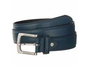 Men's Navy Blue Leather Belt Brushed Silver Buckle