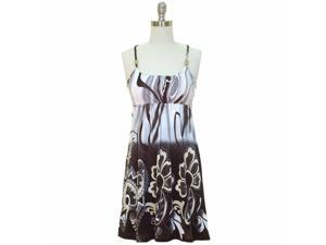 Gray & Brown Multi Color Beaded Racer Back Indie Print Sun Dress