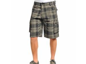 Men's Two Tone Green Plaid Printed Cargo Shorts