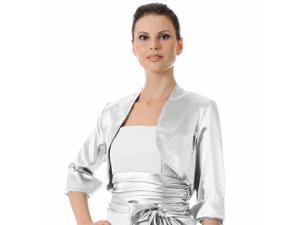 White 3/4 Sleeve Satin Bolero Shrug Jacket