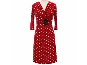 Red & White Long Sleeve Polka Dot Below The Knee Dress
