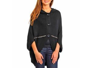 Black Oversized Button Down Cardigan Sweater W/Studs & Wide Collar
