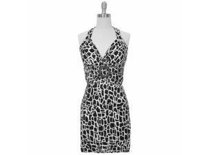 Black & White Sexy Self Tie O-ring Halter Summer Sun Dress