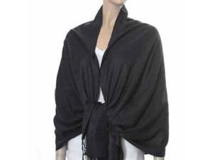 Black Solid Pashmina Shawl Wrap Scarf