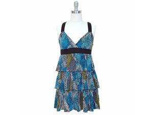 Blue Colorful X-Back Multi Layer Ruffled Sun Dress