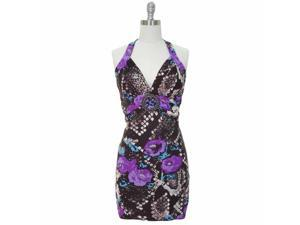 Purple Floral & Snake Print Sexy Self Tie O-ring Halter Summer Sun Dress