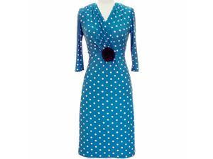 Blue & White Long Sleeve Polka Dot Below The Knee Dress
