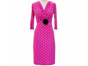 Magenta & White Long Sleeve Polka Dot Below The Knee Dress