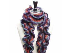 Blue Purple & Orange Long Spiral Knit Neck Scarf W/Fringe