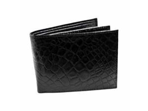 Alligator Style Black Leather Bi-Fold Wallet