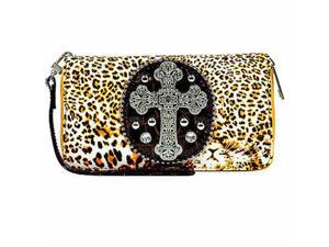 Cheetah Printed Rhinestone Cross Wristlet Organizer Wallet