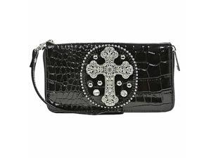 Black Croco Embossed Rhinestone Cross Organizer Wristlet Wallet