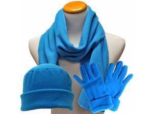 Turquoise 3 Piece Polar Fleece Hat Scarf & Glove Matching Set