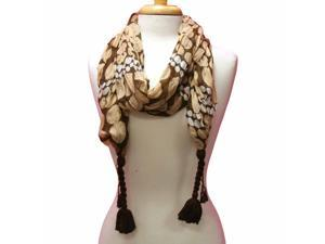 Tan Multi Color Polka Dot Crinkled Scarf W/dark Brown Tassels