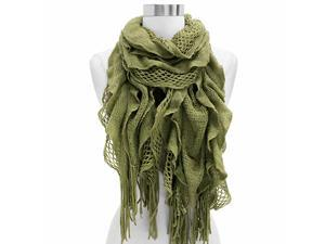 Sage Green Elastic Ruffled Layer Scarf Wrap With Fringe